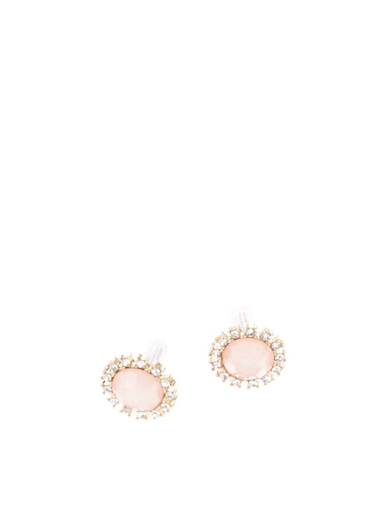 Ružové náušnice s bielymi kamienkami Pieces