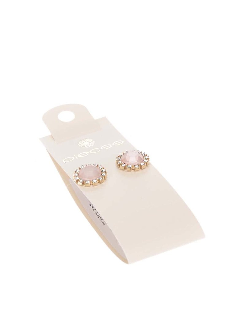 Růžové náušnice s bílými kamínky Pieces Pinna