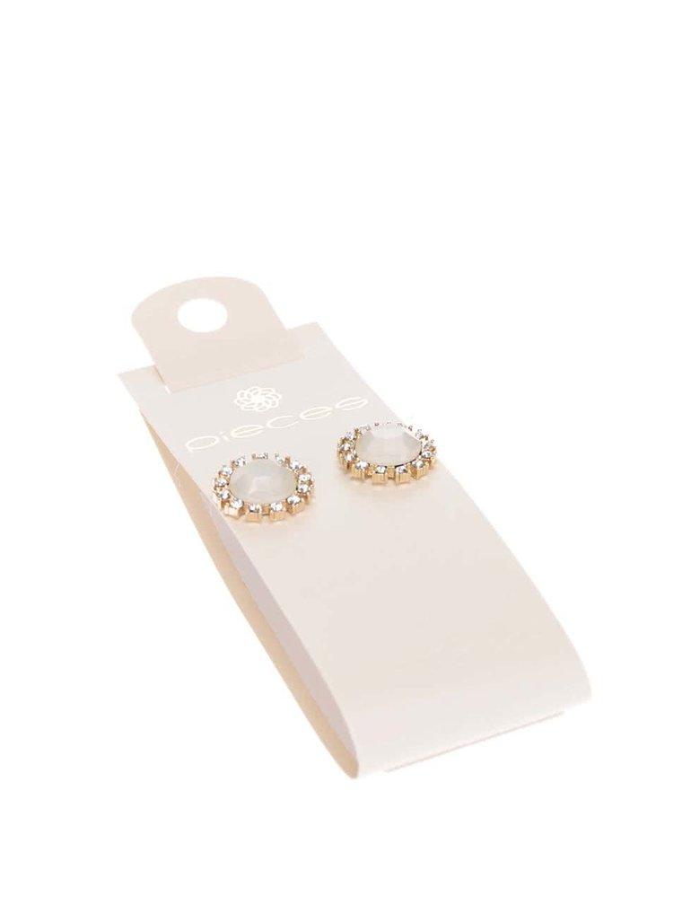 Krémové náušnice s kamínky Pieces Pinna