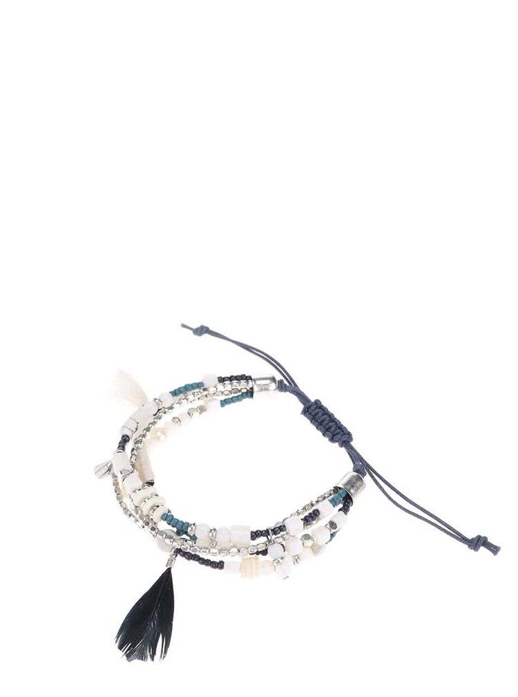 Tmavomodrý náramok s detailmi v striebornej farbe Pieces Perri