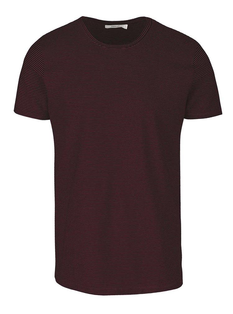 Černo-vínové pruhované triko Jack & Jones Pima
