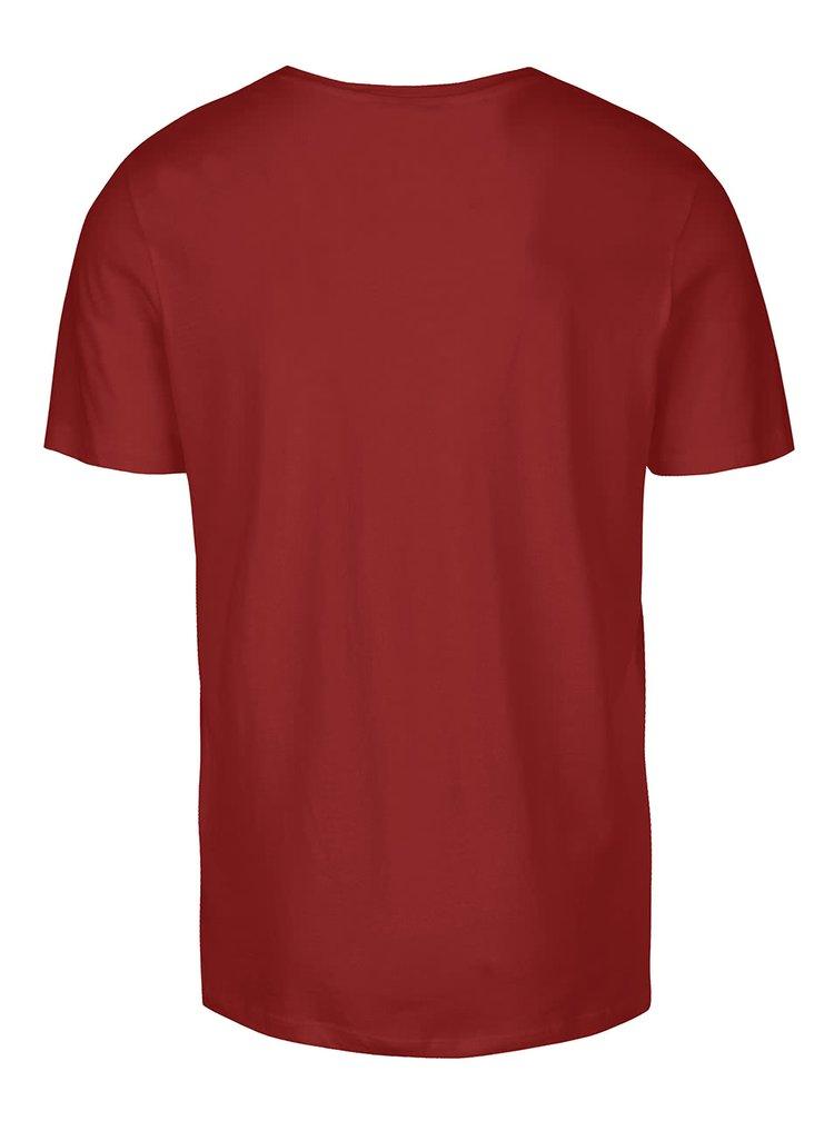 Tricou vișiniu Jack & Jones Roli cu print