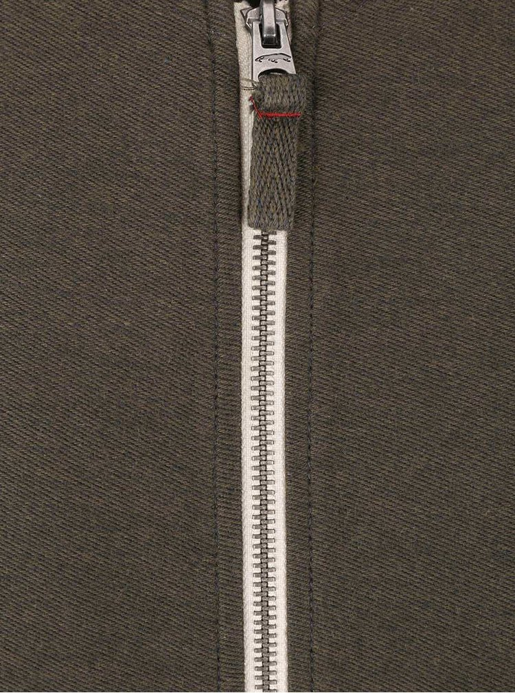 Tmavozelená mikina na zips Jack & Jones Camden