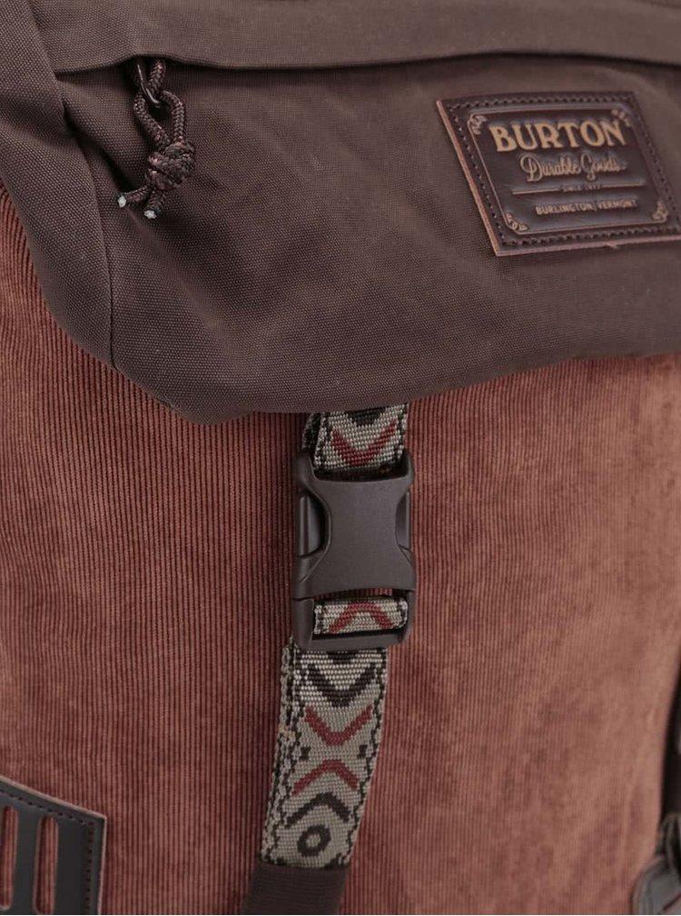 Hnedý unisex menčestrový batoh Burton Tinder 25 l