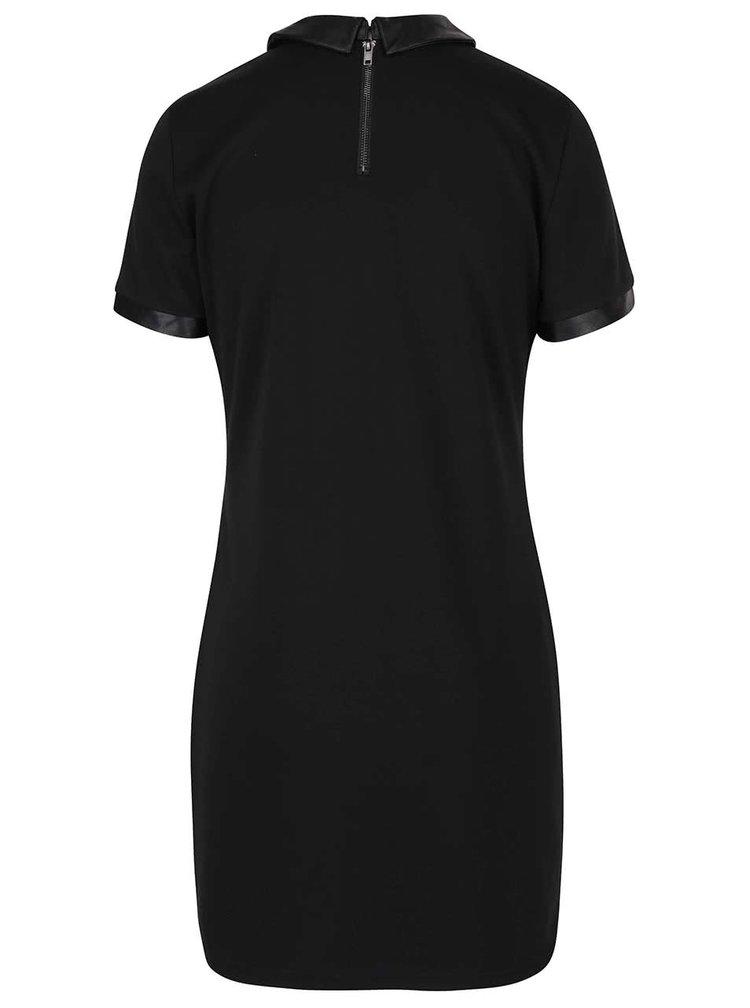 Černé šaty s koženkovým límečkem VILA Tinny