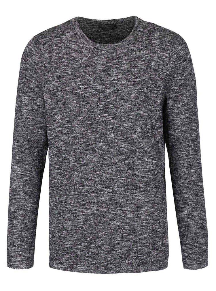 Tmavosivý melírovaný sveter Jack & Jones Slub