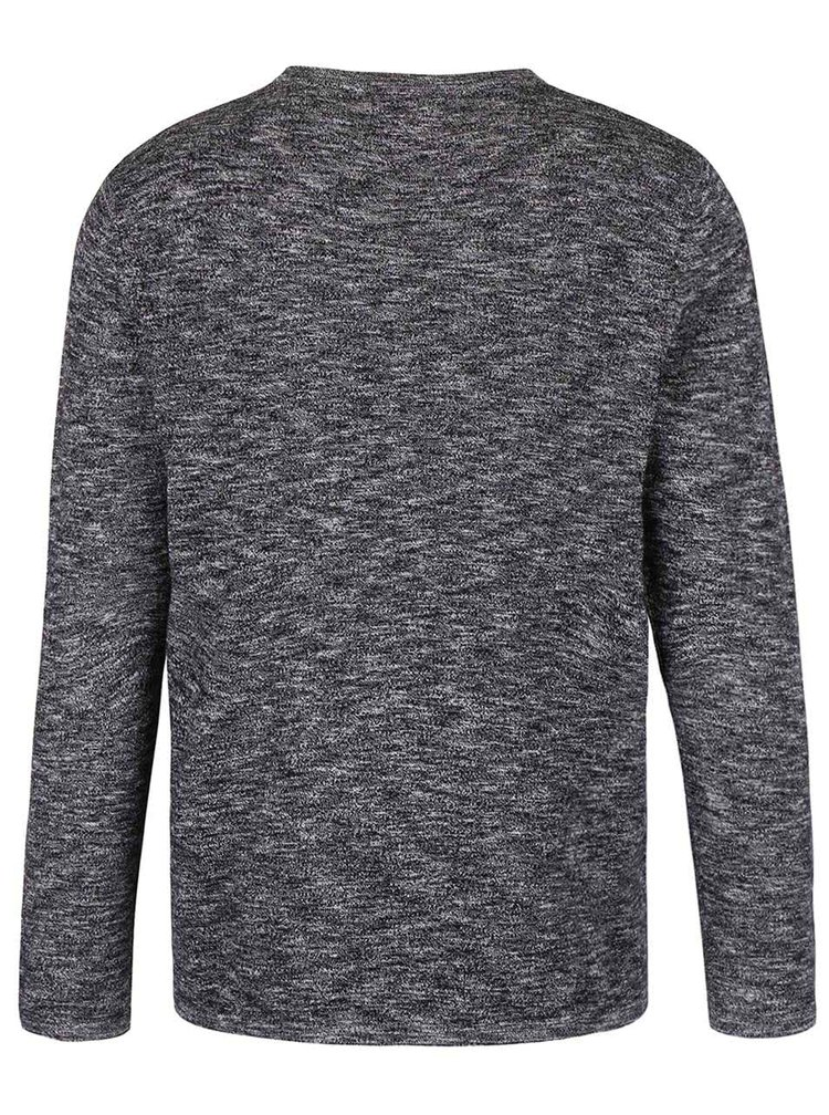 Tmavě šedý žíhaný svetr Jack & Jones Slub