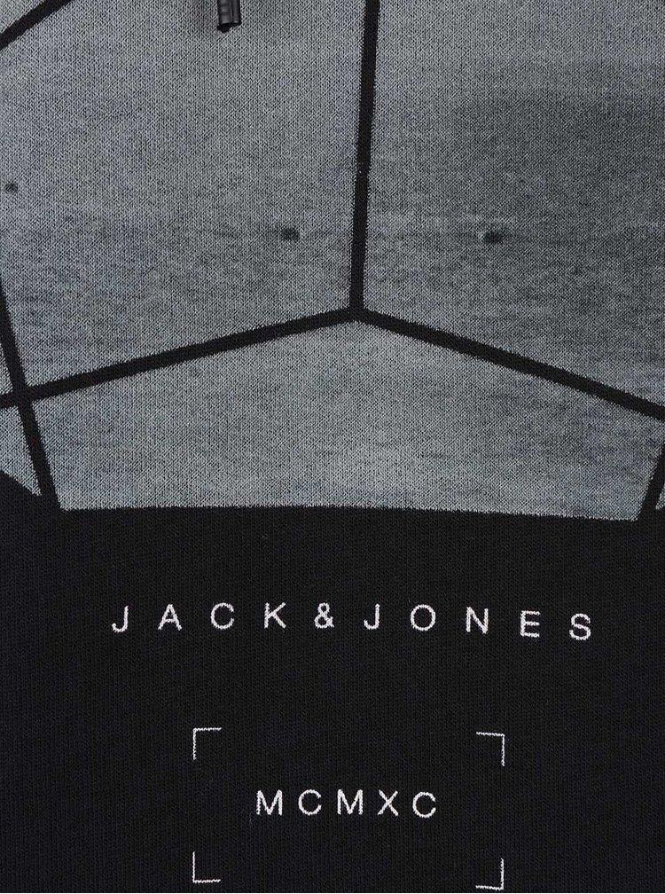 Hanorac negru Jack & Jones Oxcom cu print