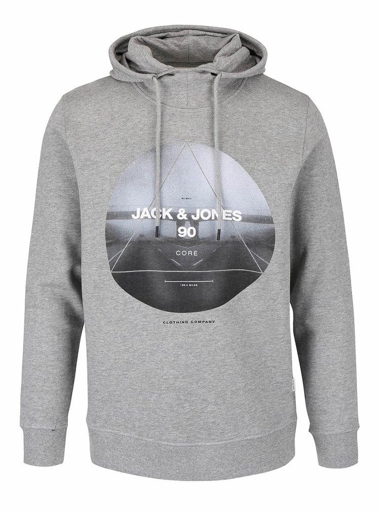 Hanorac gri Jack & Jones Oxcom cu print