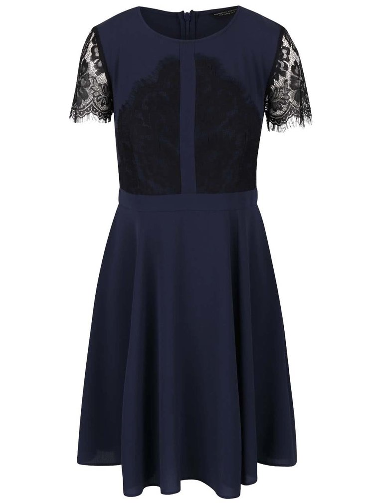 Tmavě modré šaty s černou krajkou Dorothy Perkins