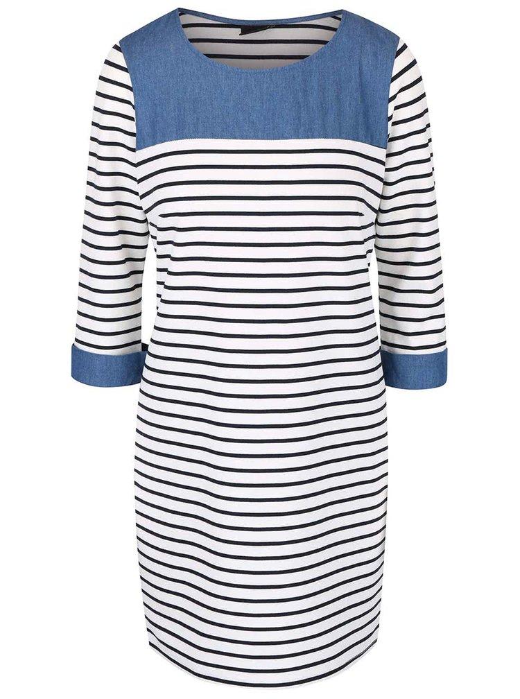 Krémové pruhované šaty s rifľovými detailmi VILA Tinny