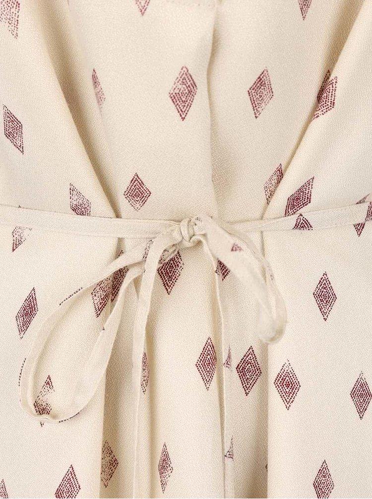 Krémové vzorované šaty s dlhým rukávom VILA Ruby