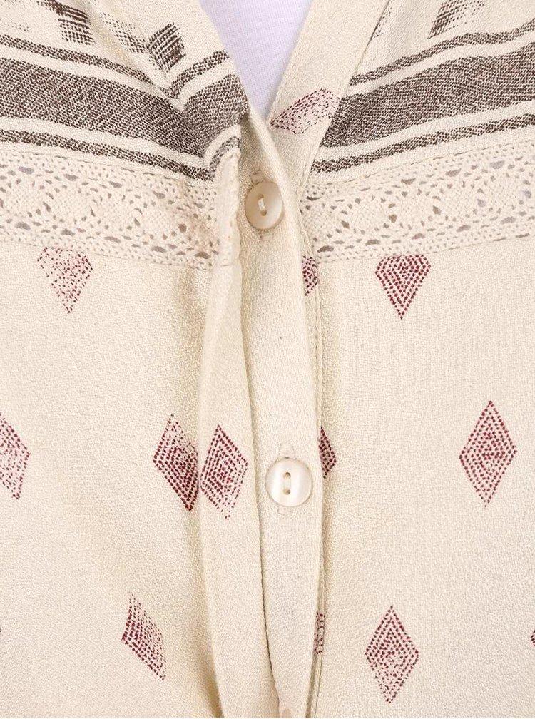 Krémové vzorované šaty s dlouhým rukávem VILA Ruby