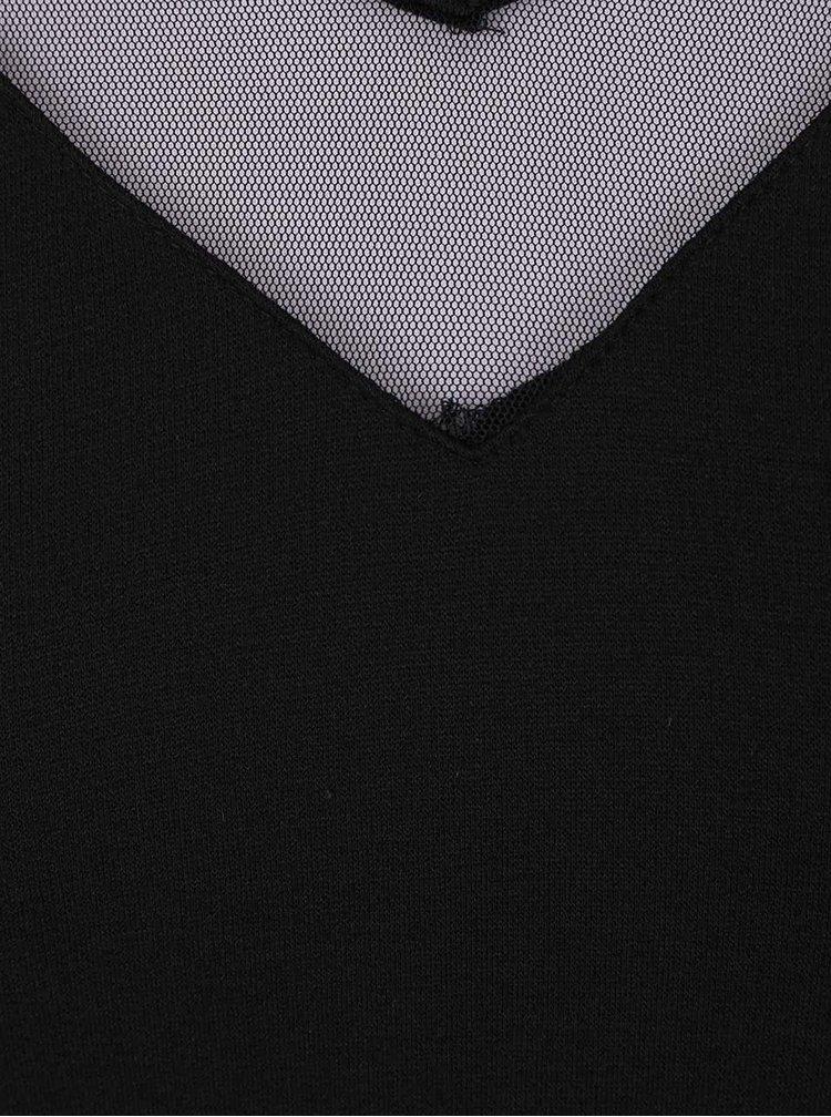 Černá halenka s průhledným lemem VILA Tinny