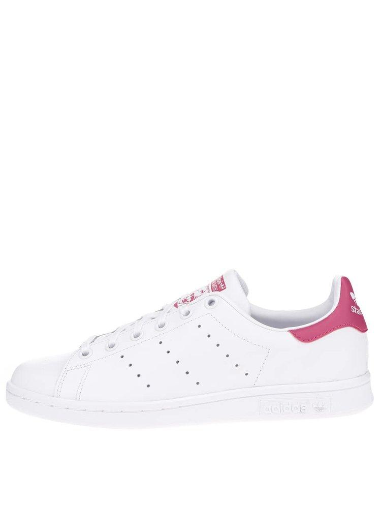 Pantofi sport albi adidas Originals Stan Smith cu detalii roz