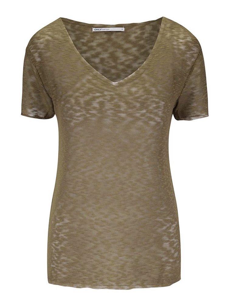 Khaki průsvitné tričko s véčkovým výstřihem ONLY Sadie