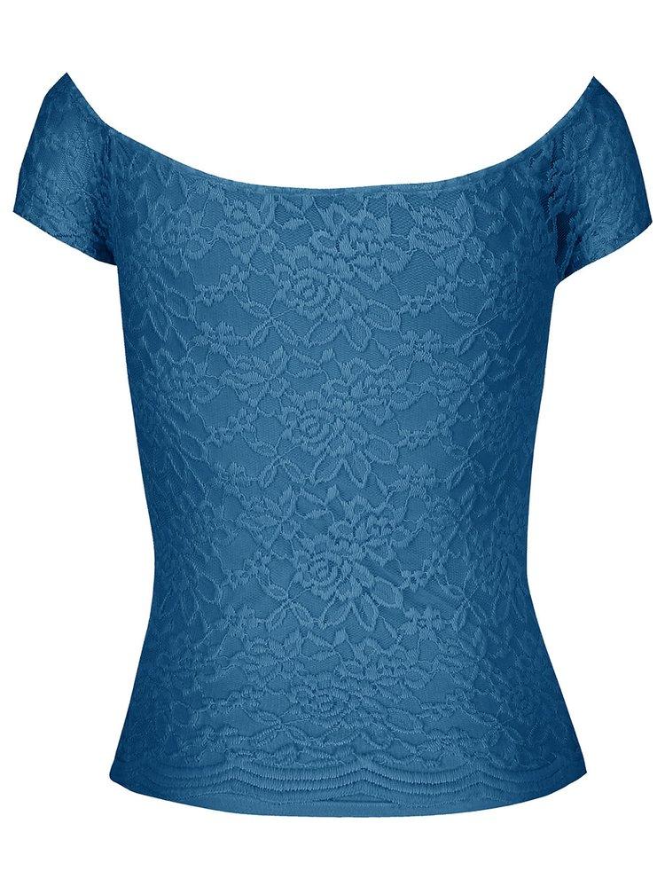 Petrolejové krajkové tričko s lodičkovým výstřihem TALLY WEiJL Pippa
