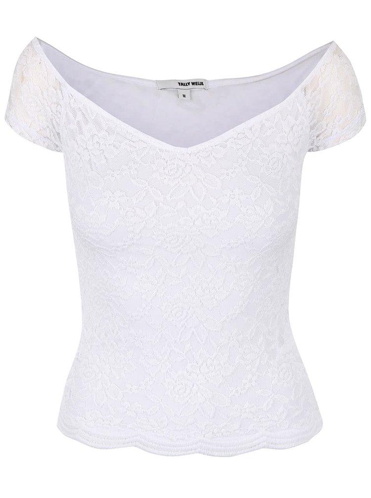 Bílé krajkové tričko s lodičkovým výstřihem TALLY WEiJL Pippa