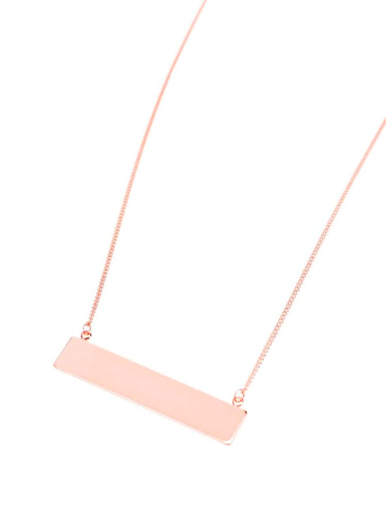 Colier roz auriu Pieces Perula cu pandantiv dreptunghiular