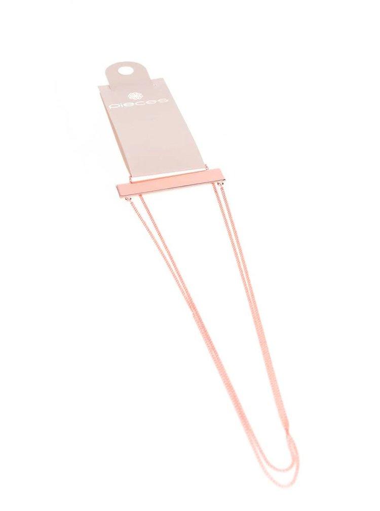 Dlhý náhrdelník v ružovozlatej farbe s obdĺžnikovým príveskom Pieces Perula