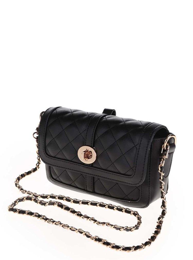 Čierna crossbody kabelka s retiazkou a detailmi v zlatej farbe TALLY WEiJL