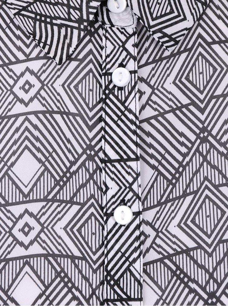 Čierno-biela vzorovaná blúzka bez rukávov s čipkou TALLY WEiJL
