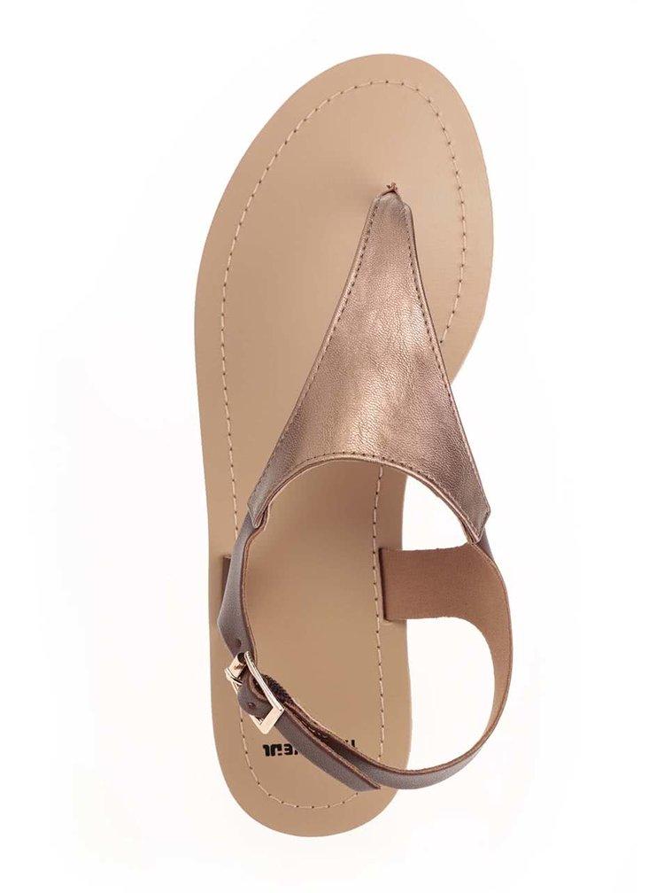 Hnědé metalické páskové sandály TALLY WEiJL