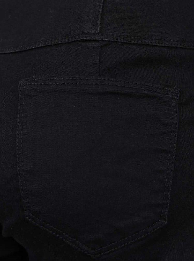 Čierne rifľové kraťasy s ozdobným zipsom a gombíkmi TALLY WEiJL