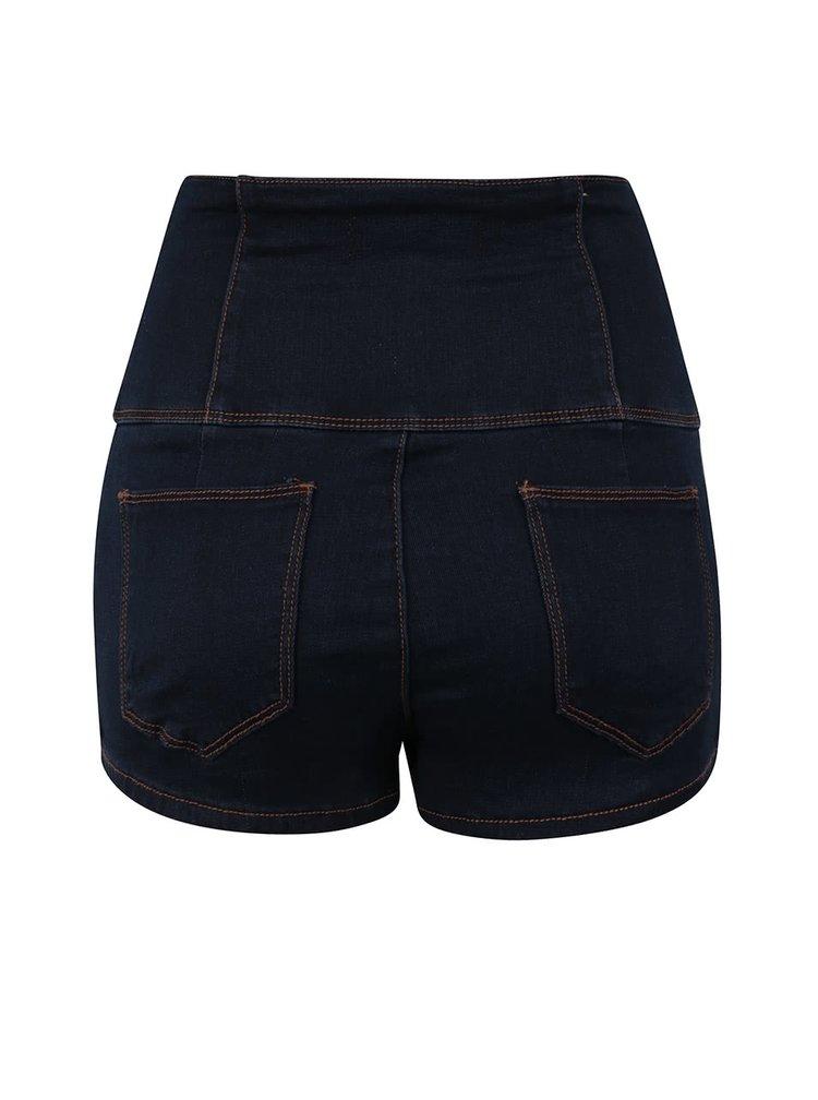 Pantaloni scurti bleumarin din denim TALLY WEiJL cu talie inalta