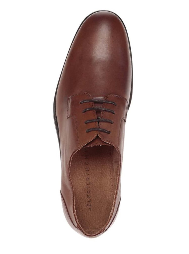 Pantofi maro din piele Selected Homme Oliver