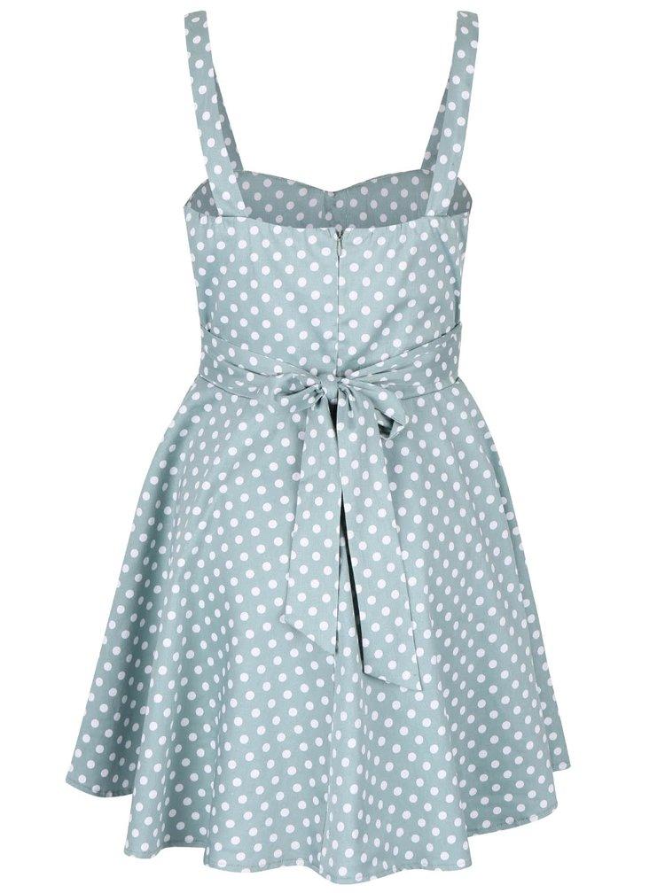Mentolové šaty s bílými puntíky Apricot