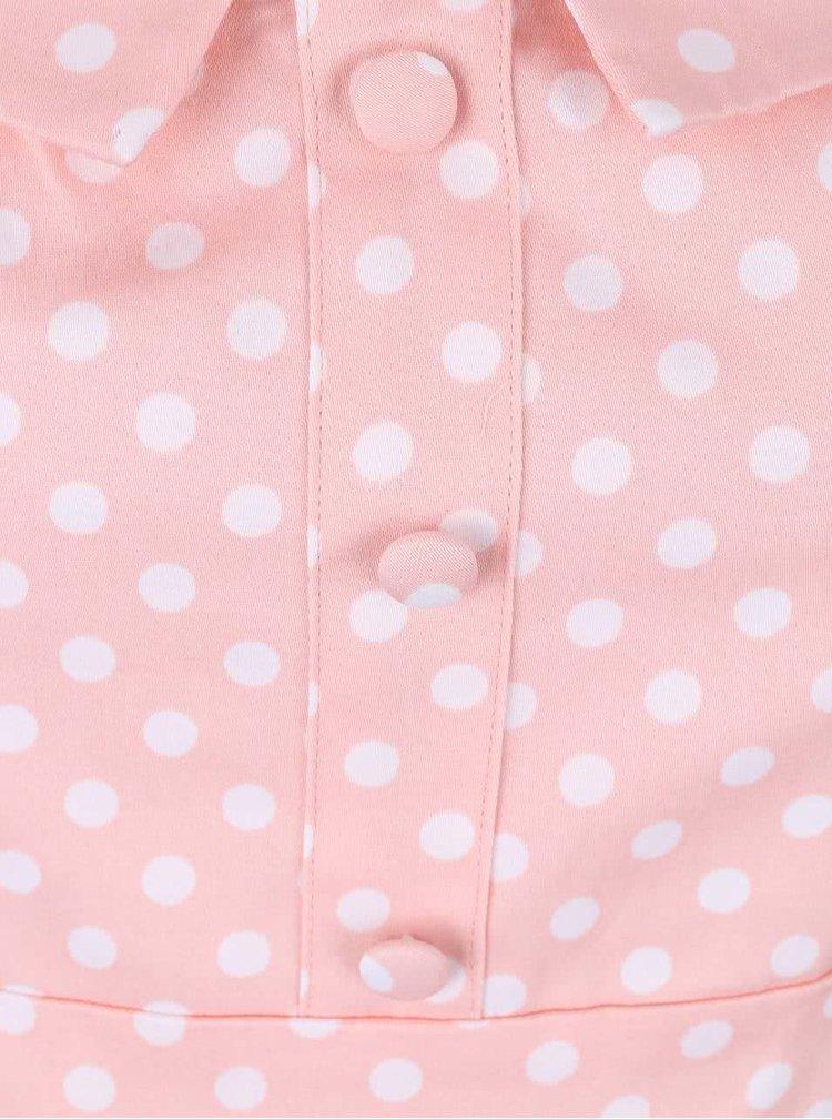 Růžové šaty s bílými puntíky Apricot