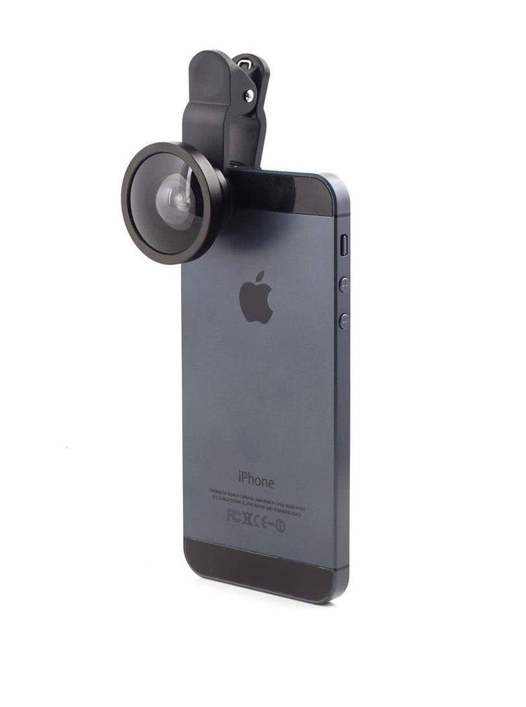 Černá širokoúhlá čočka na telefon Kikkerland