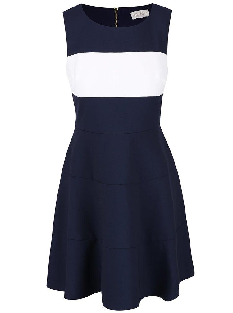 Tmavomodré šaty s bielym pruhom cez prsia Apricot
