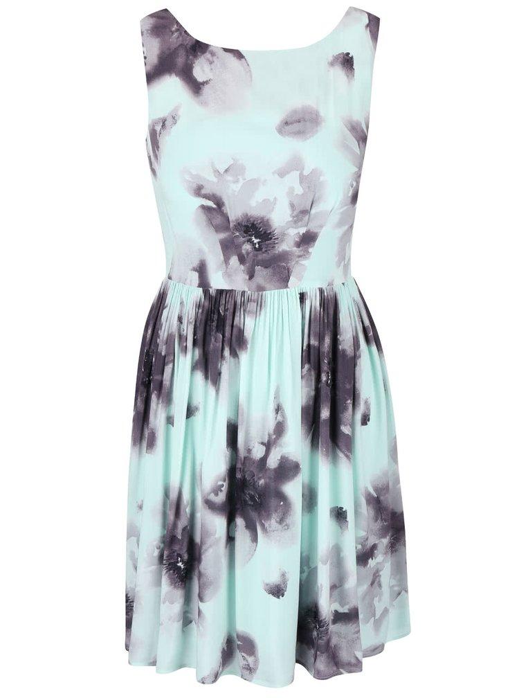 Mentolové šaty s veľkými sivo-čiernymi kvetmi Apricot