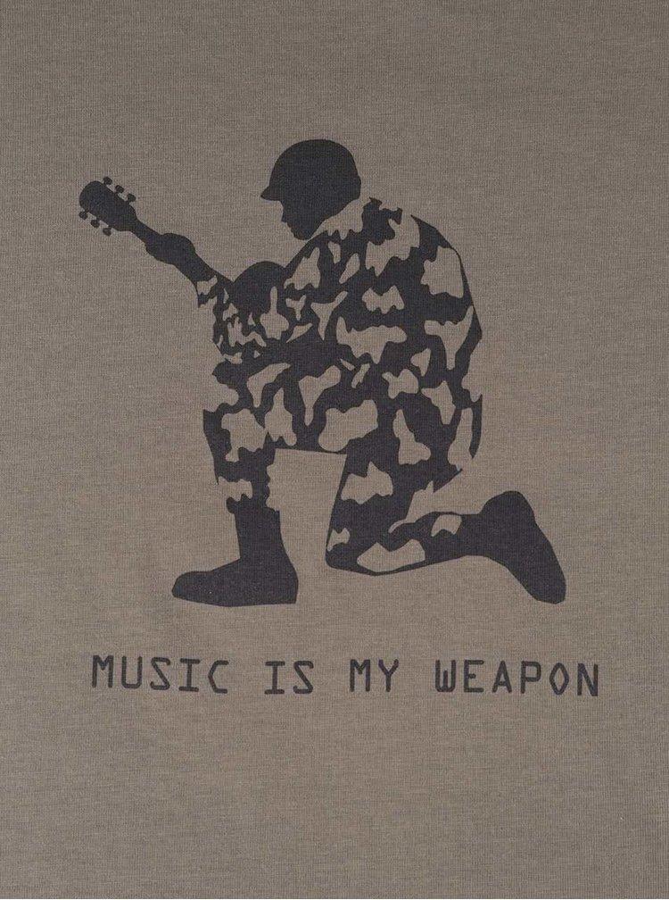 Tricou kaki din bumbac ZOOT Originál Music Is My Weapon