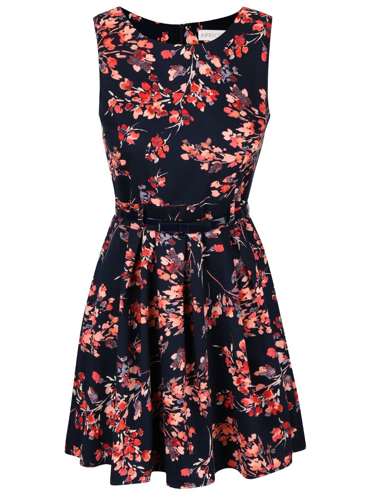 Tmavě modré květované šaty s páskem Apricot
