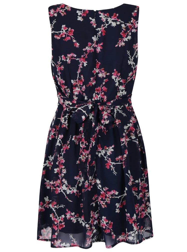 Tmavomodré šifónové šaty s kvetinovým vzorom Apricot