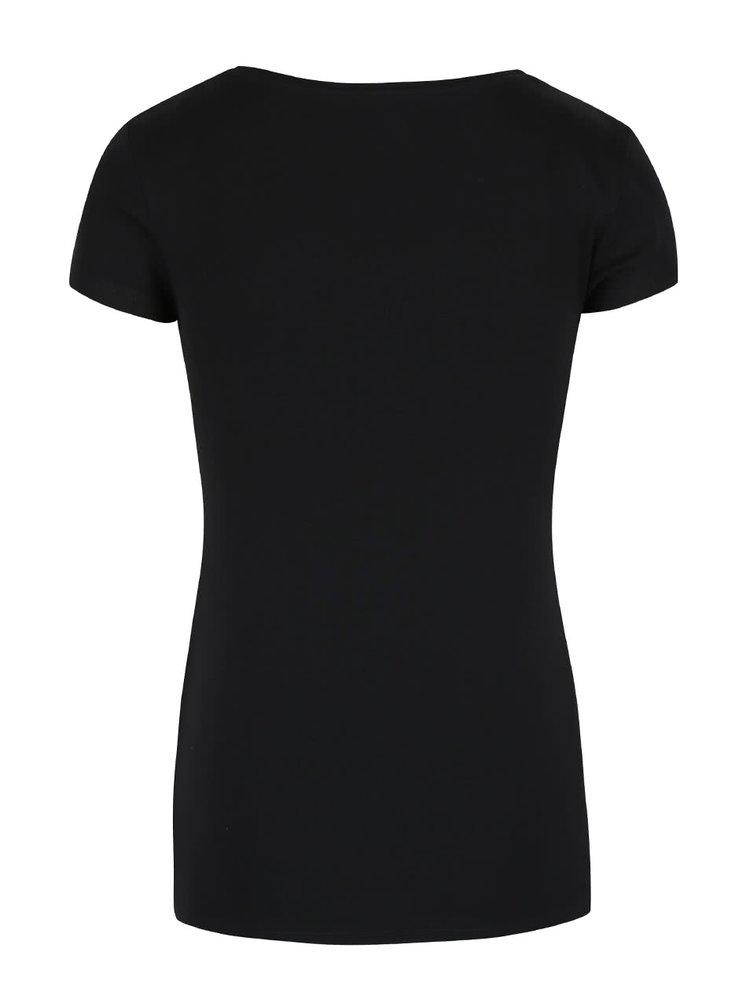 Černé basic tričko s kulatým výstřihem Tally Weijl Tadalo