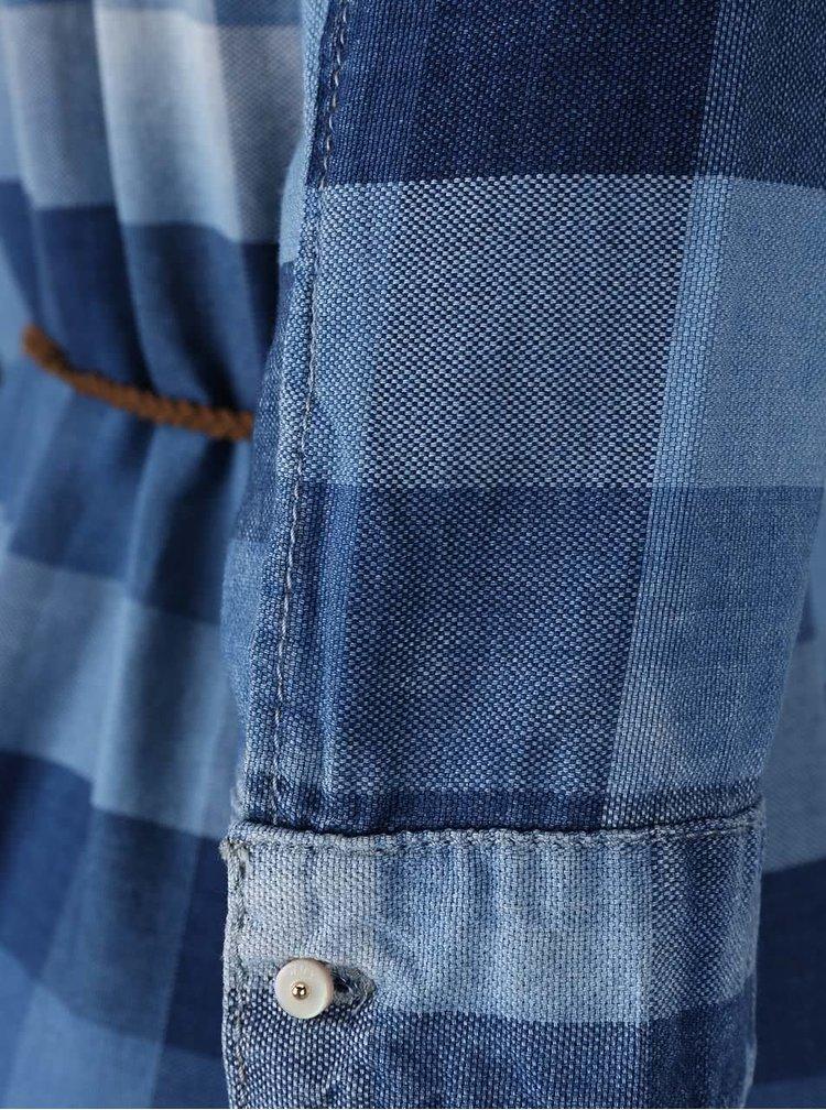 Modré kostkované šaty s páskem ONLY Henna