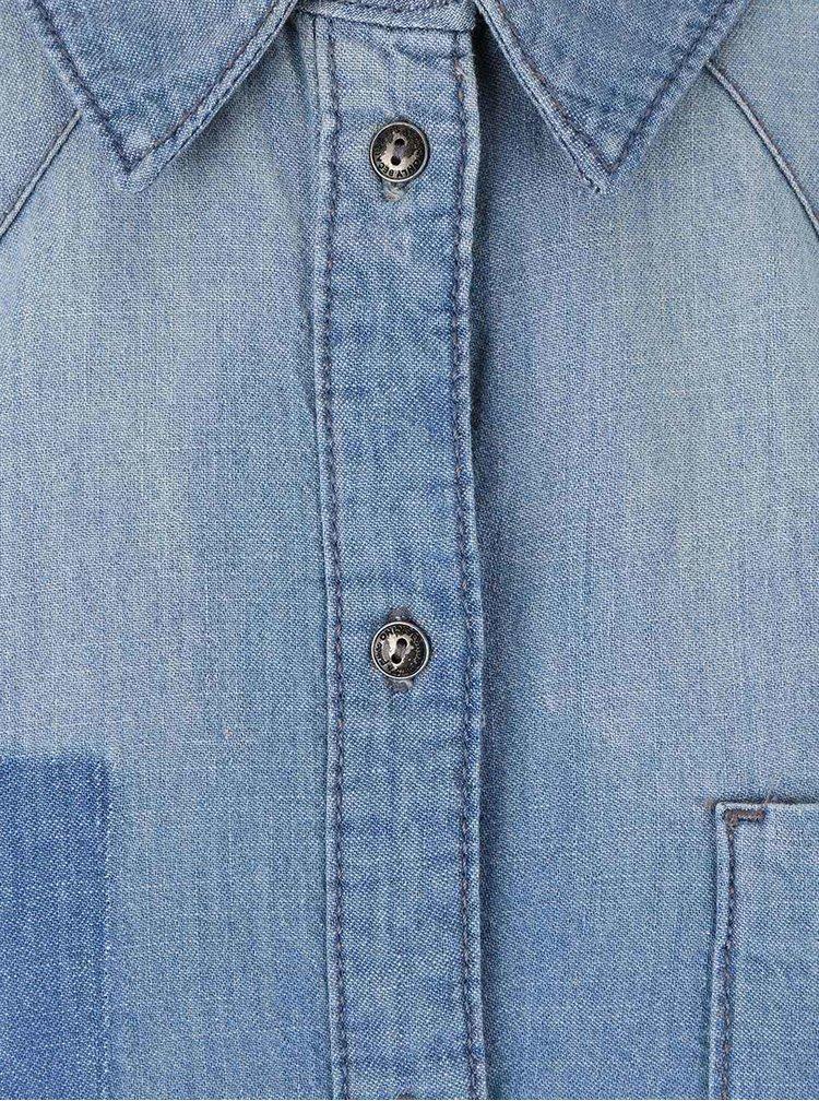 Modré rifľové šaty s opaskom ONLY Henna