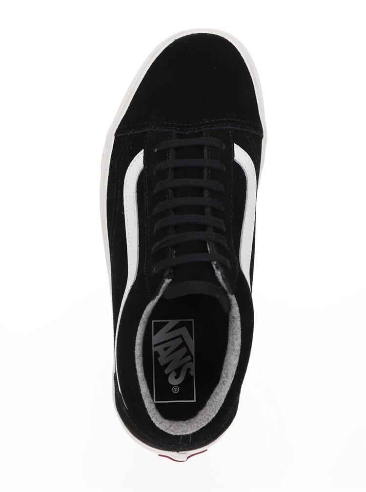 Černé dámské semišové tenisky s pruhem Vans Old Skool