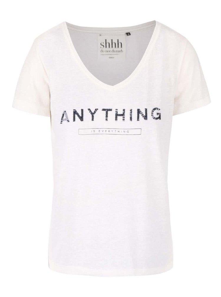 Krémové voľnejšie tričko s potlačou ONLY Kimmi
