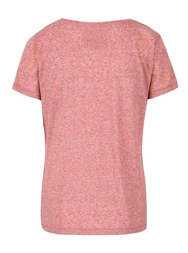 Růžové žíhané volnější tričko s potiskem ONLY Kimmi