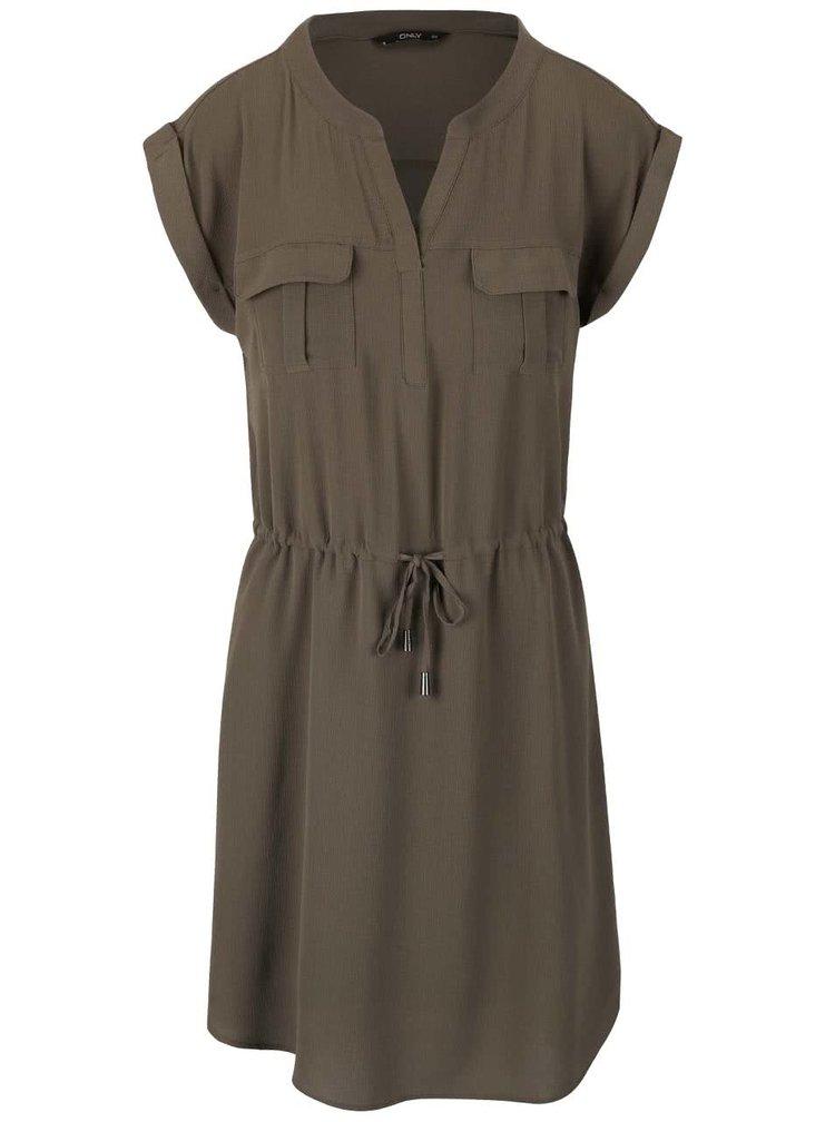 Khaki šaty se stažením v pase ONLY Vertigo