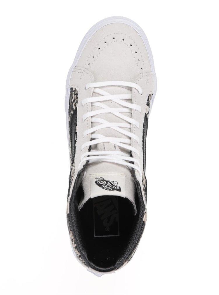Černo-béžové semišové unisex kotníkové tenisky VANS SK8-Hi Slim