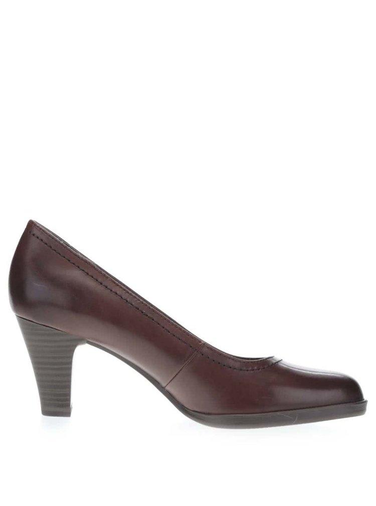 Pantofi cu toc maro inchis Tamaris din piele