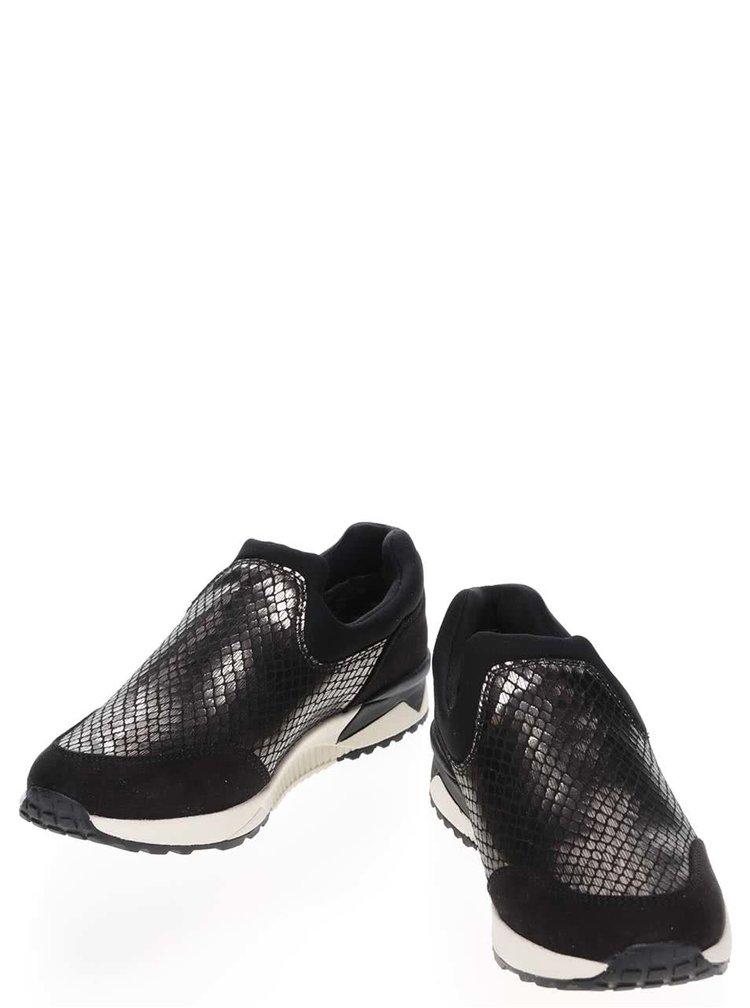 Černo-stříbrné tenisky Tamaris