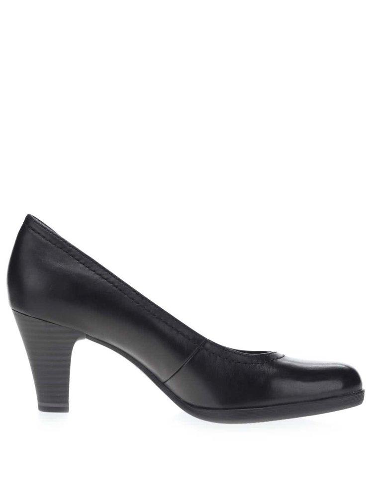 Pantofi cu toc negri Tamaris din piele