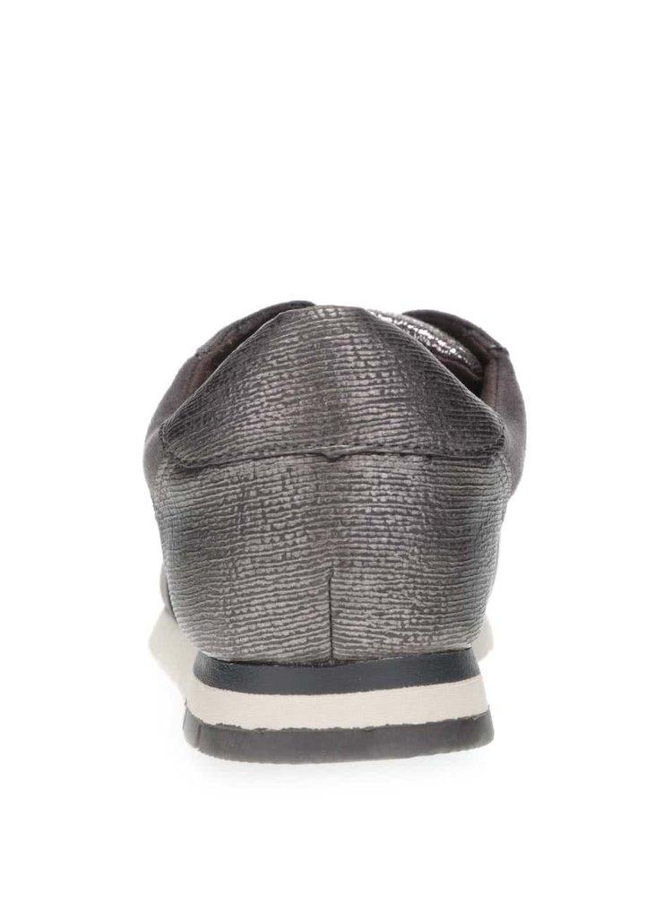 Trblietavé tenisky v striebornej farbe so sivými detailmi Tamaris